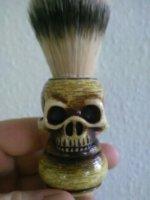 skull handle shaving brush badger blade