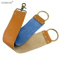 "Chinese Generic 60mm (2-3/8"") wide Dual Denim/Calf-hide Hanging Strop"