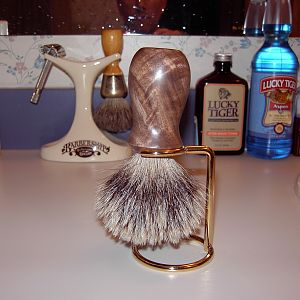 silvertip badger and brass holder